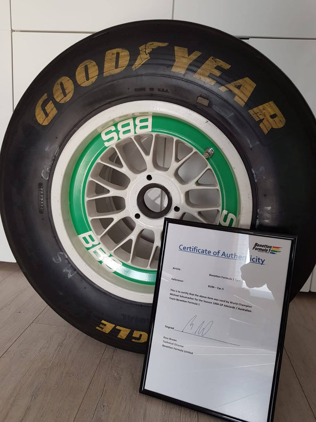 1994 Michael Schumacher Benetton race used tire - just arrived -