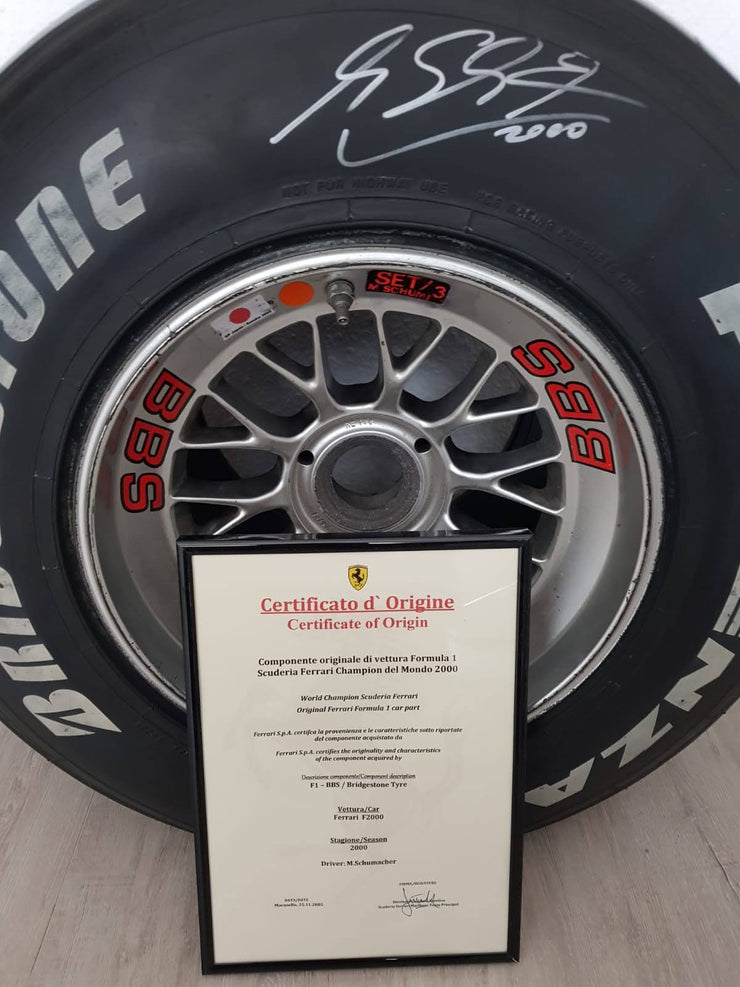 2000 Michael Schumacher Japan GP BBS race used tire - SOLD -