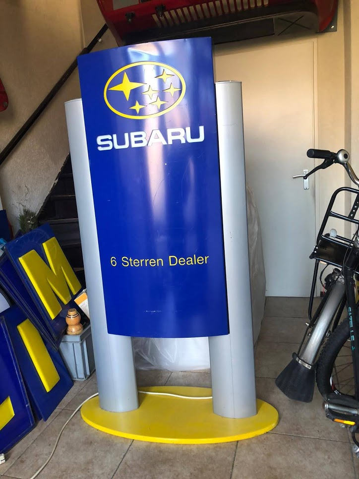2000s Subaru official dealer double illuminated sign