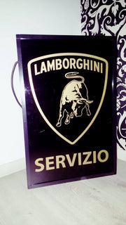 1990s Lamborghini Servizio official dealership illuminated sign