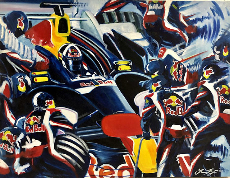 Coulthard RedBull painting after Peter Eisenreich - Formula 1 Memorabilia