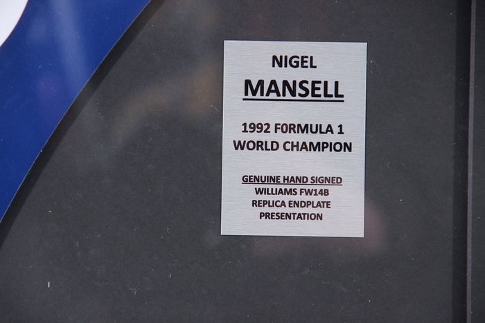 1992 Nigel Mansel F1 William rear wing end plate - Formula 1 Memorabilia
