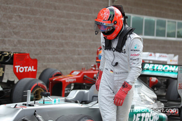 2010 Michael Schumacher race used H.A.N.S system