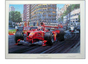 """Schumacher Triumphant"" 1999 Monaco GP – Signed by MICHAEL SCHUMACHER and Nicholas Watts"