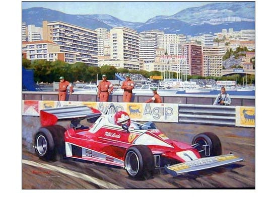 Niki Lauda during the 1976 Monaco GP by Alan Kinsey - Formula 1 Memorabilia