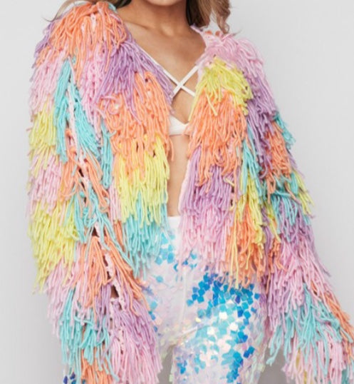 Rainbow Icecream Shaggy Jacket