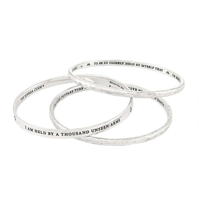 Divine Mother of Protection Trinity Bangle Set in Sterling Silver_ Kaia Ra Jewelry _ Bejeweled in Sovereignty_The Sophia Code