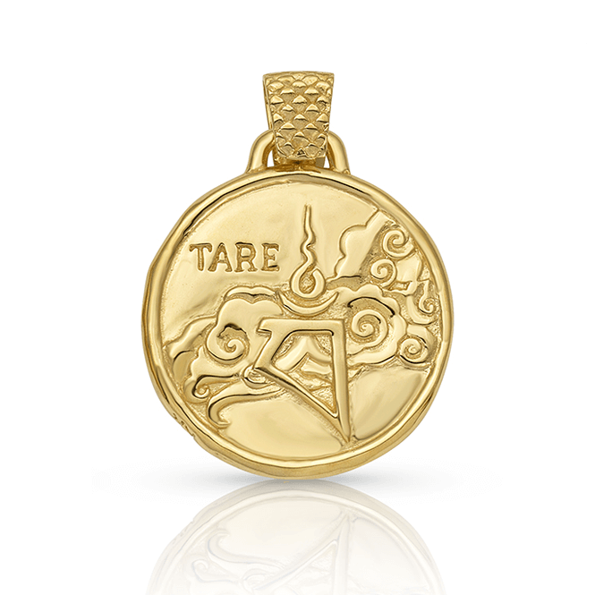 Green Tara Skydancer Pendant in Gold Plated Brass | Tare | Kaia Ra Jewelry | Bejeweled in Sovereignty | The Sophia Code