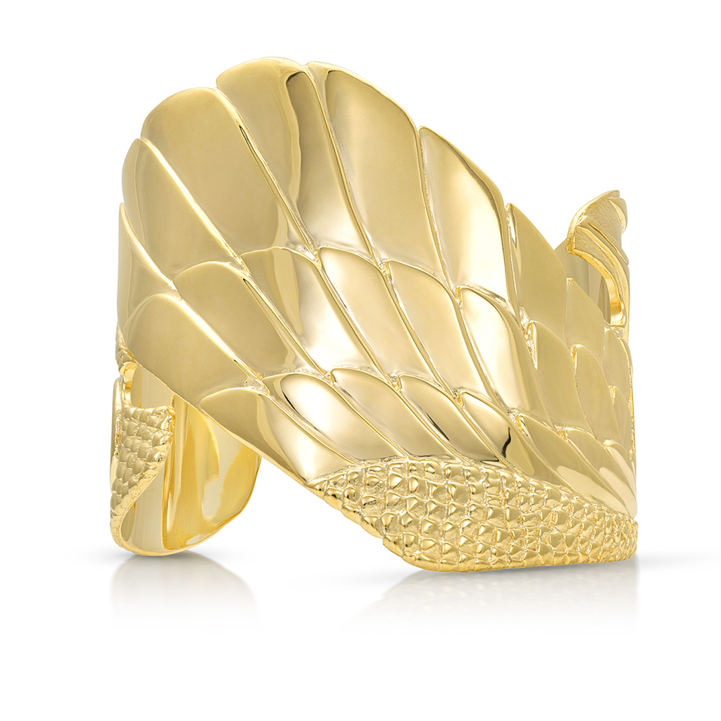 Isis Winged Prophecy Cuff in Gold Plated Brass |  Kaia Ra Jewelry | Bejeweled in Sovereignty | The Sophia Code