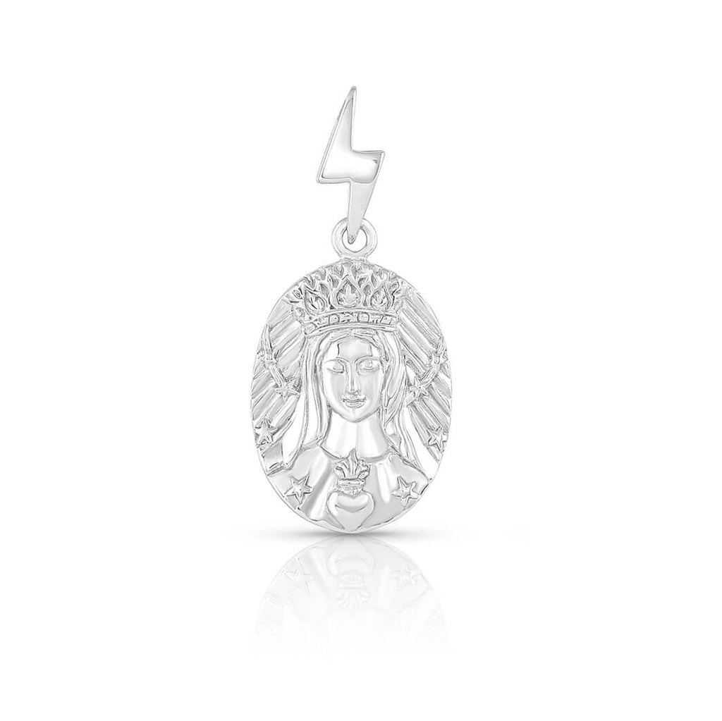"Mother Mary ""She of a Thousand Roses"" Medallion in Sterling Silver 