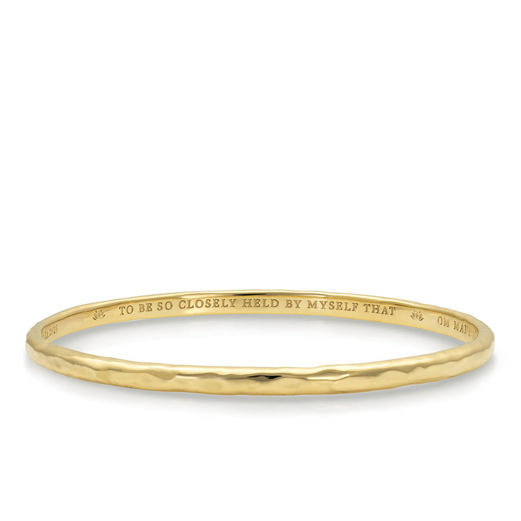 Quan Yin Mantra Bangle in Gold Vermeil on Solid Brass | Kaia Ra Jewelry | The Sophia Code | Embody Your Sovereignty