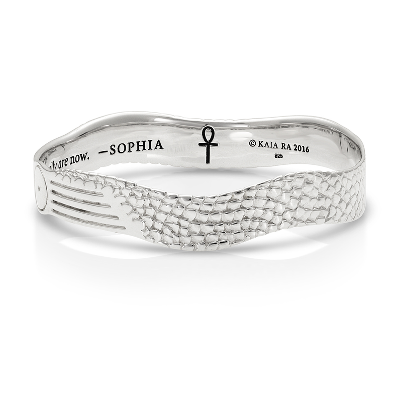 Sophia Stargate Bangle in Sterling Silver |  Kaia Ra Jewelry |  Bejeweled in Sovereignty | The Sophia Code | Embody Your Sovereignty Collection