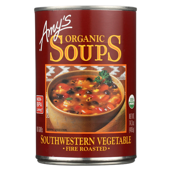 Amy's Organic Fire Roasted Southwestern Vegetable Soup - Case of 12 - 14.3 oz