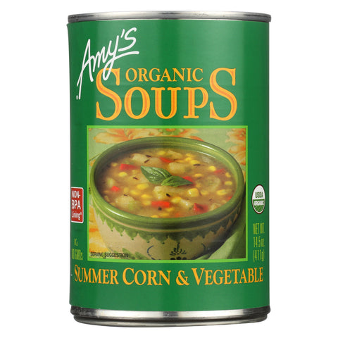 Amy's Organic Summer Corn & Vegetable Soup - Case of 12 - 14.5 oz