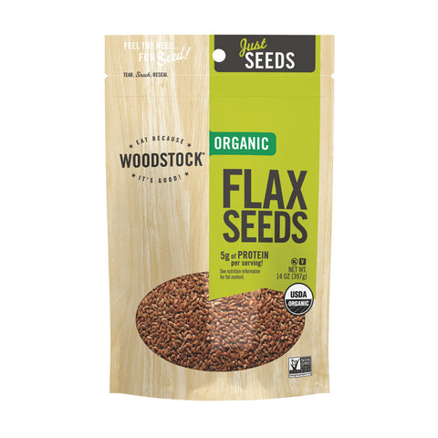 Woodstock Organic Flax Seeds - Case of 8 - 14 oz.