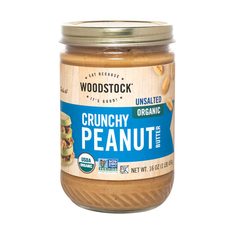Woodstock Organic Peanut Butter - Crunchy - Unsalted - Case of 12 - 16 oz.