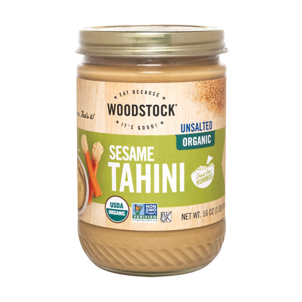 Woodstock Organic Tahini - Unsalted - 16 oz. (Pack of 3)