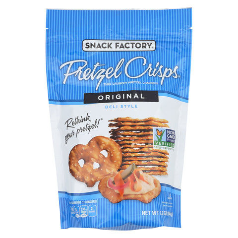 Pretzel Crisp Pretzel Crisps - Original - Case of 12 - 7.2 oz.