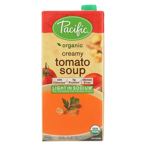 Pacific Natural Foods Creamy Tomato Soup - Light In Sodium - Case of 12 - 32 Fl oz.