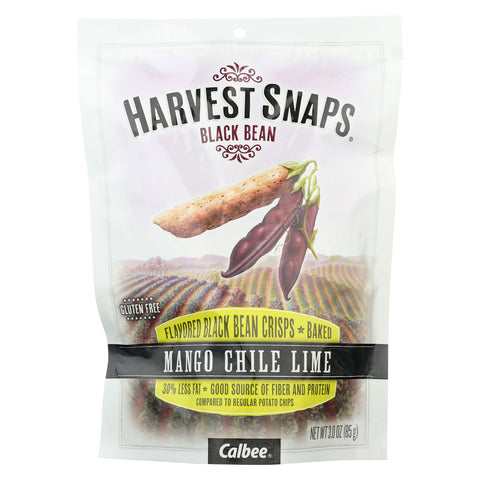 Calbee Snapea Crisp Harvest Snaps - Black Bean Mango Chile Lime - Case of 12 - 3 oz