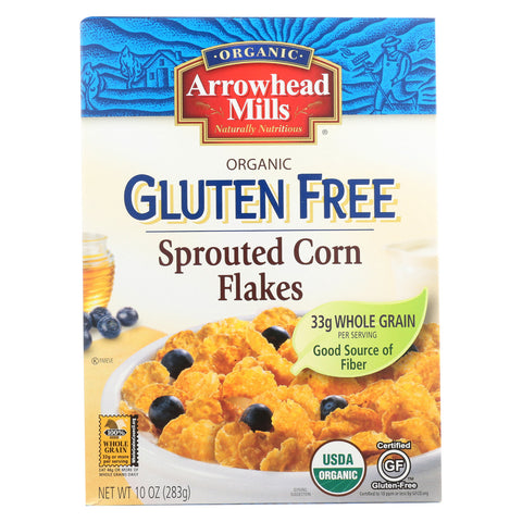 Arrowhead Mills Organic Gluten Free Cereal - Sprouted Corn Flakes - Case of 6 - 10 oz