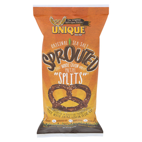Unique Pretzels Sprouted Grain Pretzels - Case of 12 - 8 oz.