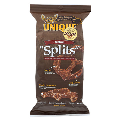 Unique Pretzels Splits - Original - Case of 12 - 11 oz.