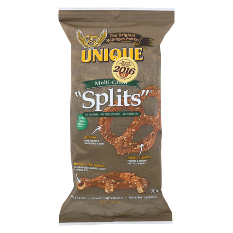 Unique Pretzels Splits - Multi Grain - Case of 12 - 11 oz.