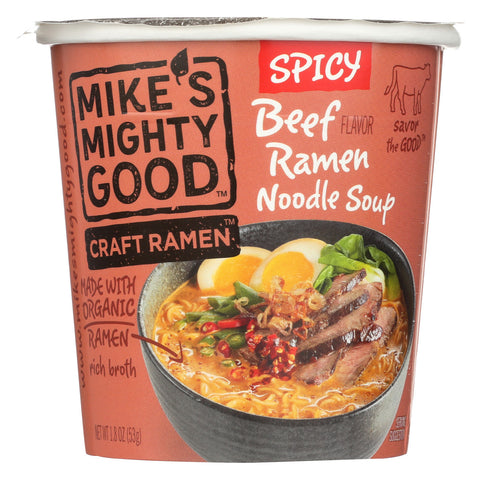 Mike's Mighty Good Soup - Organic - Ramen - Spicy Beef - Cup - Case of 6 - 1.8 oz