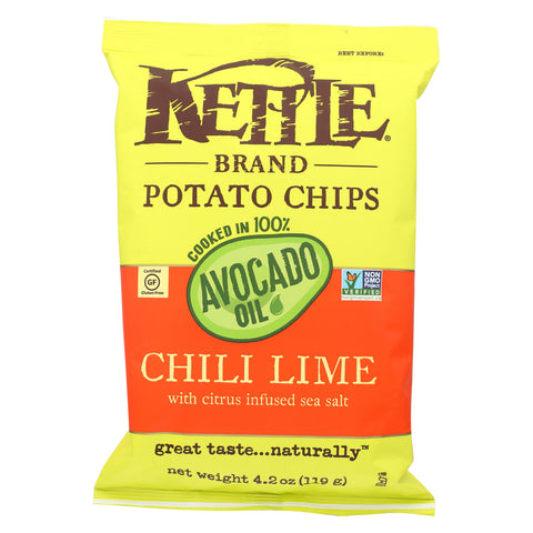 Kettle Brand Potato Chips - Chile Lime - Case of 15 - 4.2 oz.