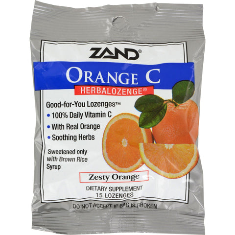 Zand HerbaLozenge Orange C Natural Orange - 15 Lozenges - Case of 12
