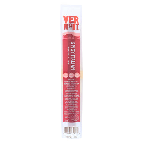 Vermont Smoke and Cure Pork Stick - Spicy Italian - Case of 24 - 1 oz