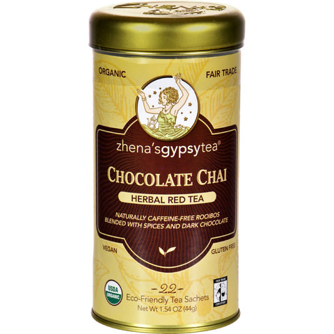 Zhena's Gypsy Tea Chocolate Chai Herbal Red Tea - Caffeine Free - Case of 6 - 22 Bags