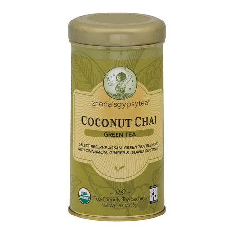 Zhena's Gypsy Tea Green Tea - Coconut Chai - Case of 6 - 22 Bags