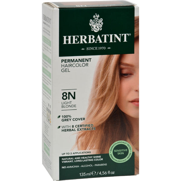 Herbatint Permanent Herbal Haircolour Gel 8N Light Blonde - 135 ml