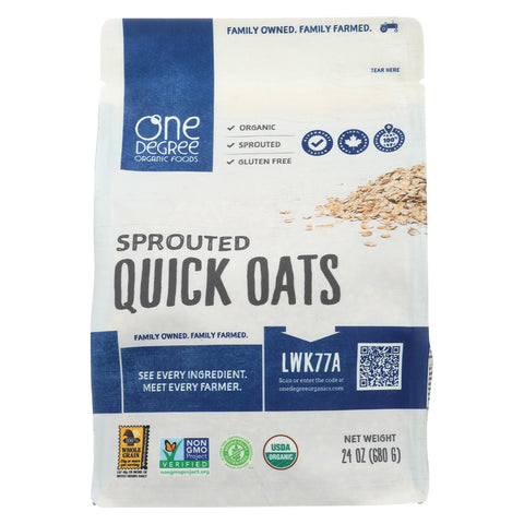 One Degree Organic Foods Organic Quick Oats - Sprouted - Case of 4 - 24 oz