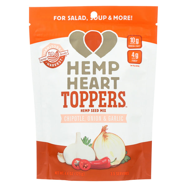 Manitoba Harvest Hemp Heart Toppers - Chipotle - Onion & Garlic - Case of 12 - 4.4 oz