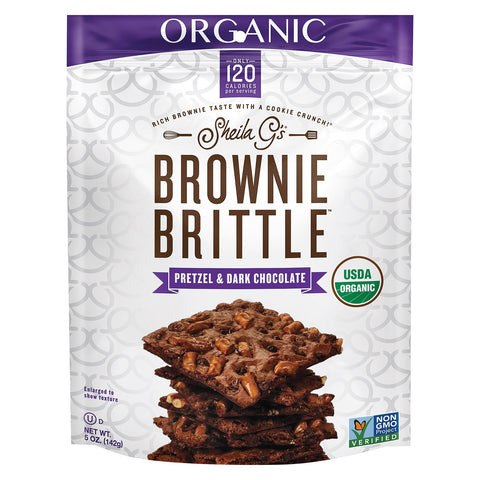 Sheila G's Organic Brownie Brittle - Pretzel and Dark Chocolate - Case of 12 - 5 oz.