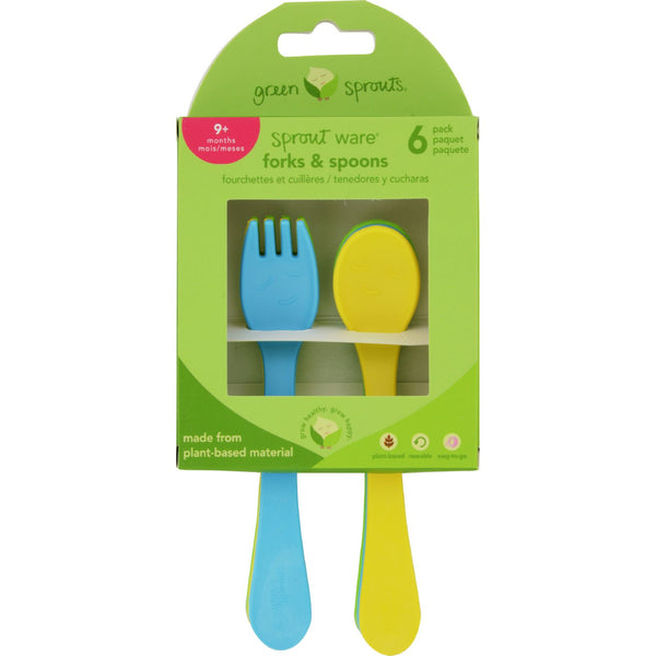 Green Sprouts Forks and Spoons - Sprout Ware - 9 Months Plus - Aqua Assorted - 6 Pack