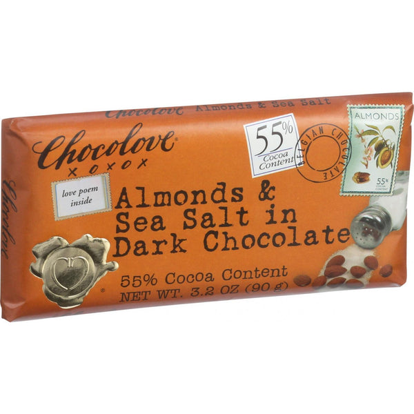 Chocolove Xoxox Premium Chocolate Bar - Dark Chocolate - Almonds and Sea Salt - 3.2 oz Bars - Case of 12