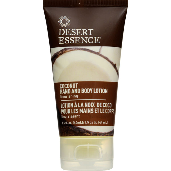 Desert Essence Hand and Body Lotion - Coconut - Travel Sz - 1.5 oz - 1 Case