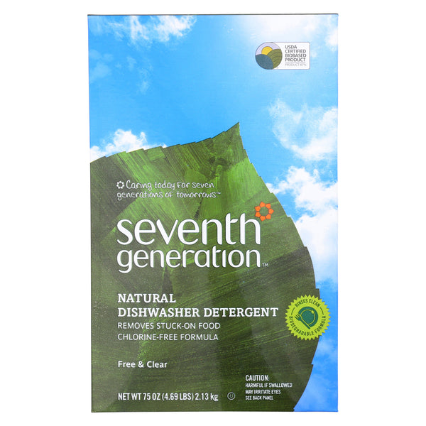 Seventh Generation Auto Dish Powder - Free and Clear - Case of 8 - 75 oz.