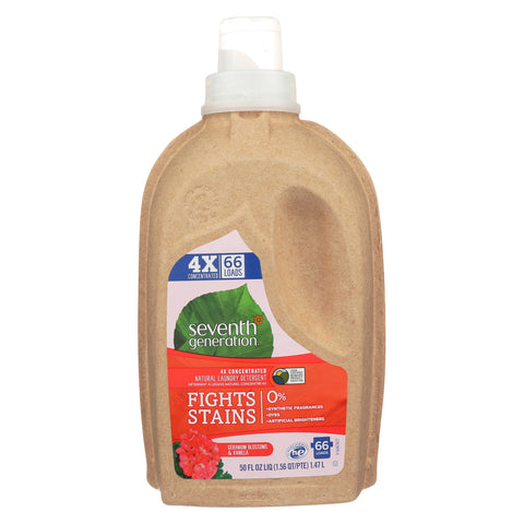 Seventh Generation Natural 4X Concentrated Laundry Detergent - Geranium Blossoms and Vanilla - Case of 6 - 50 Fl oz.