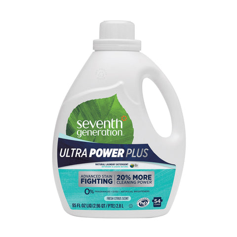 Seventh Generation Ultra Power Plus Natural Laundry Detergent - Free and Clear - Case of 4 - 95 fl oz.