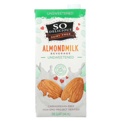 So Delicious Dairy Free Almond Milk Beverage -Unsweetened - Case of 6 - 32 fl oz