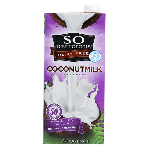 So Delicious Coconut Milk Beverage - Unsweetened Vanilla - Case of 12 - 32 Fl oz.