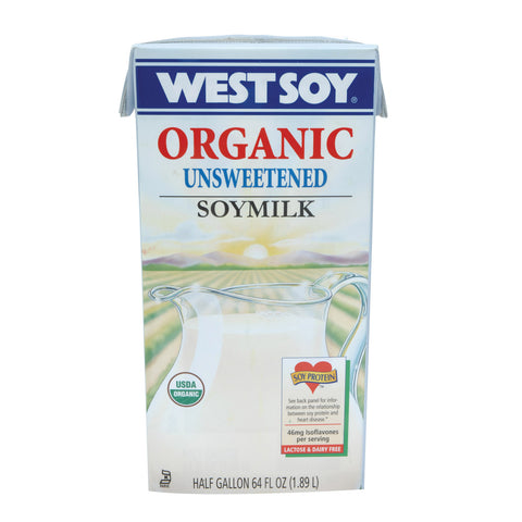 Westsoy Original Soymilk - Unsweetened - Case of 8 - 64 Fl oz.