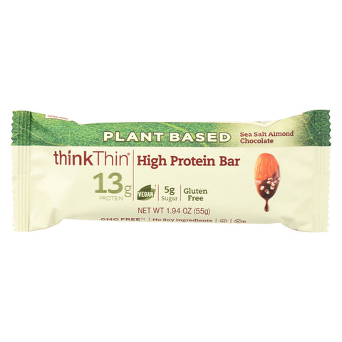 Think! Thin Plant Protein Bar - Sea Salt Almond Chocolate - Case of 10 - 1.94 oz