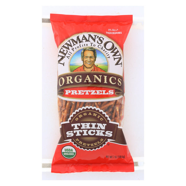 Newman's Own Organics Thin Stick Pretzels - Organic - Case of 12 - 7 oz.