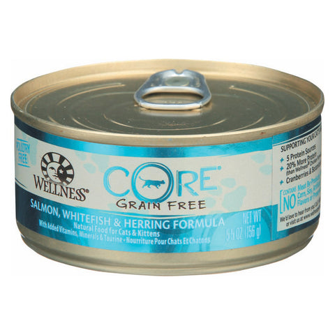 Wellness Pet Products Cat Food - Core White Fish, Salmon and Herring - Case of 24 - 5.5 oz.